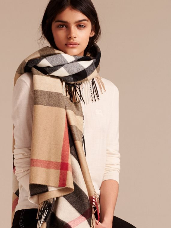 Check Cashmere and Wool Poncho in Camel - Women | Burberry - cell image 2