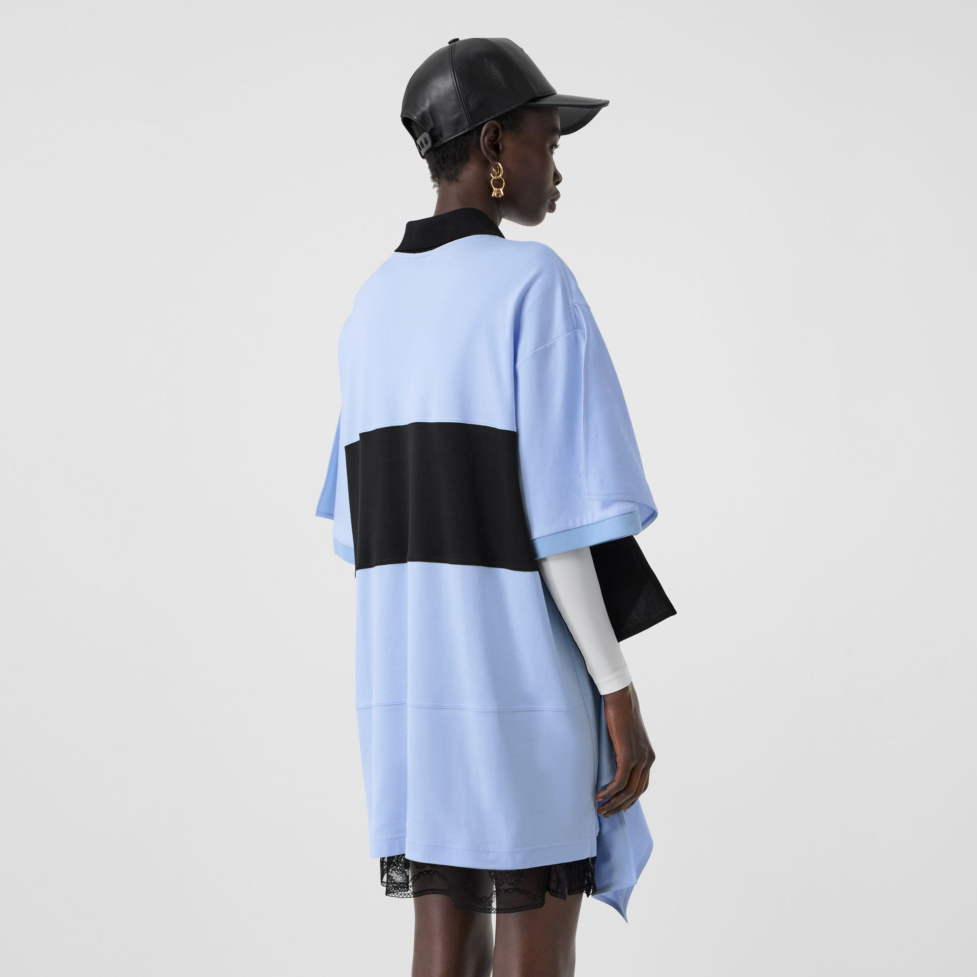 Drape Detail Striped Cotton Oversized Polo Shirt Dress in Baby Blue - Women | Burberry - gallery image 1