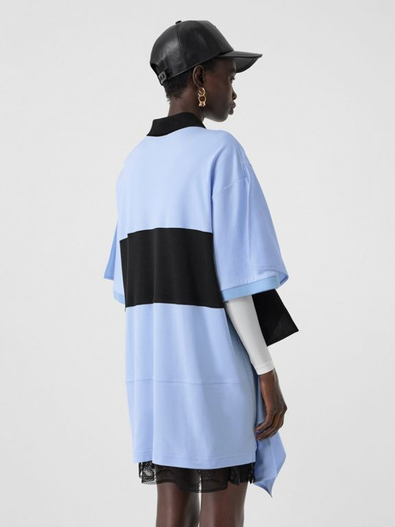 Drape Detail Striped Cotton Oversized Polo Shirt Dress in Baby Blue - Women | Burberry - cell image 1