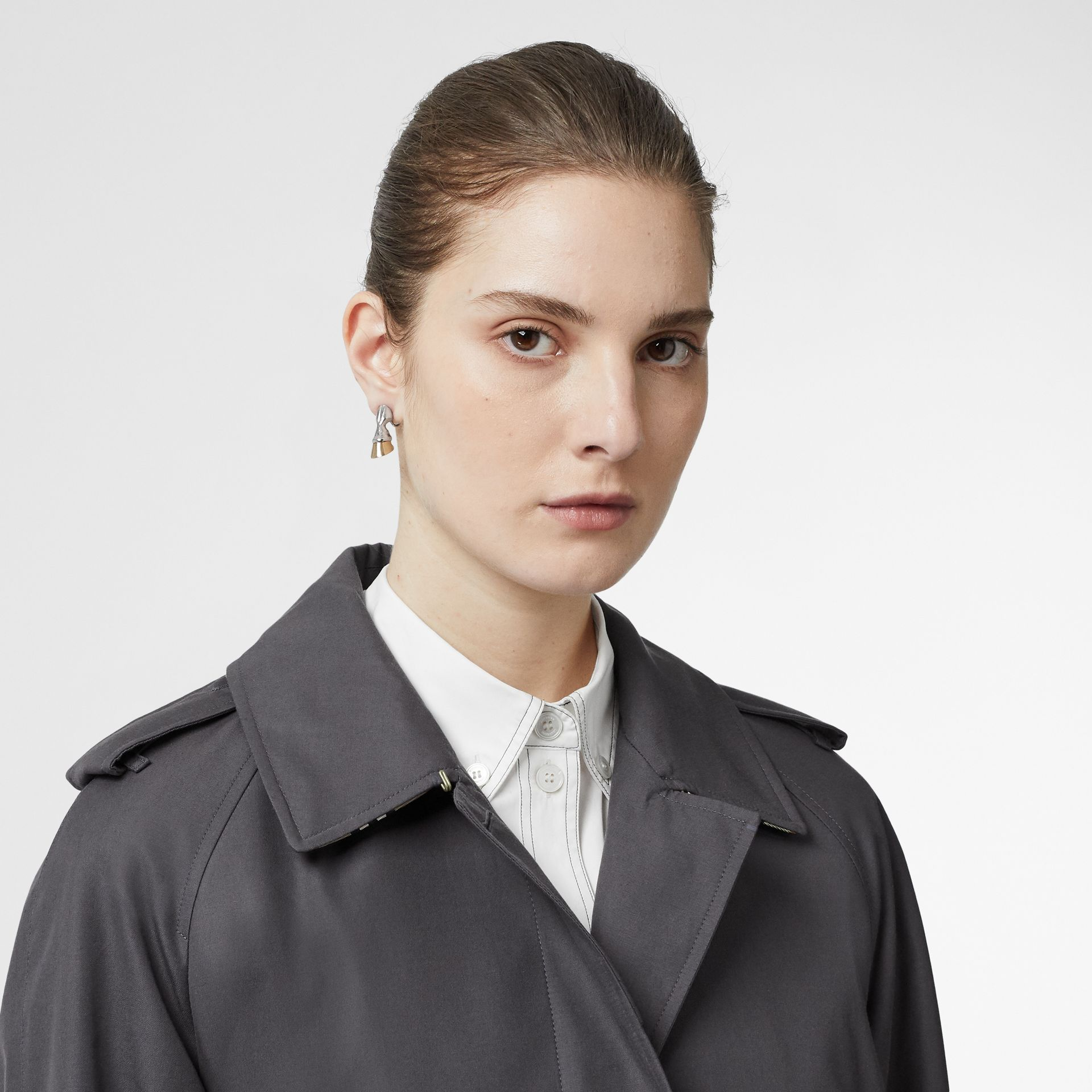 Cotton Gabardine Belted Car Coat in Mid Grey - Women | Burberry Singapore - gallery image 1