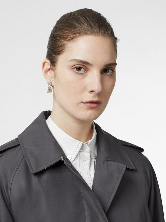 Cotton Gabardine Belted Car Coat in Mid Grey - Women | Burberry Singapore - cell image 1