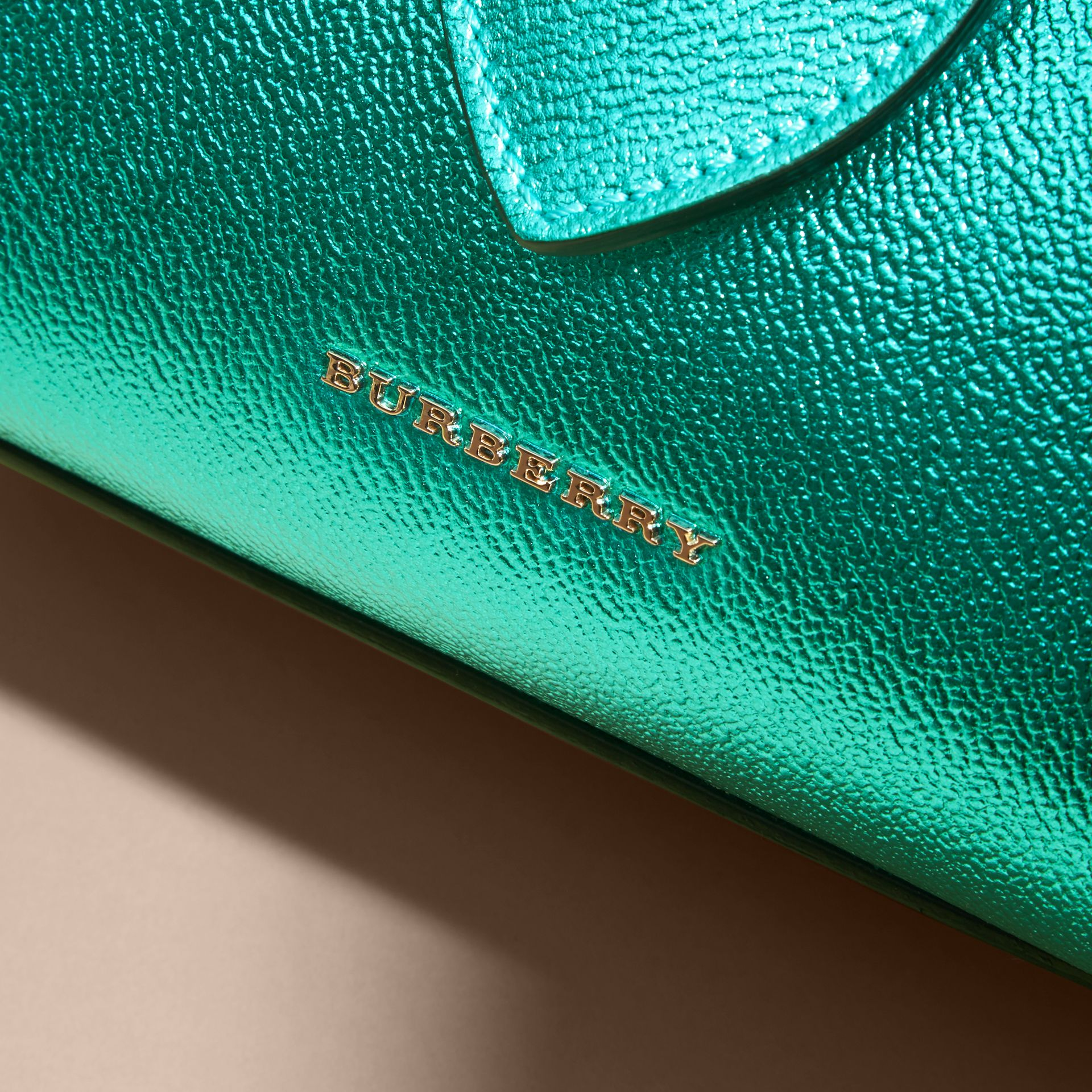 The Small Buckle Tote in Metallic Leather Emerald - gallery image 2