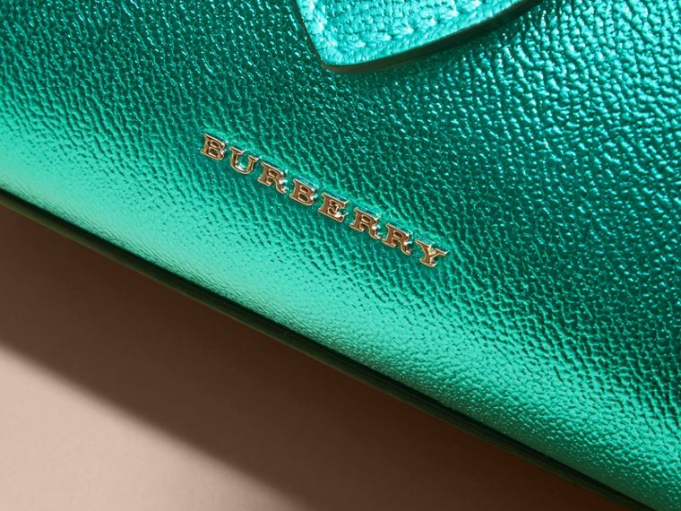 The Small Buckle Tote in Metallic Leather in Emerald - cell image 1