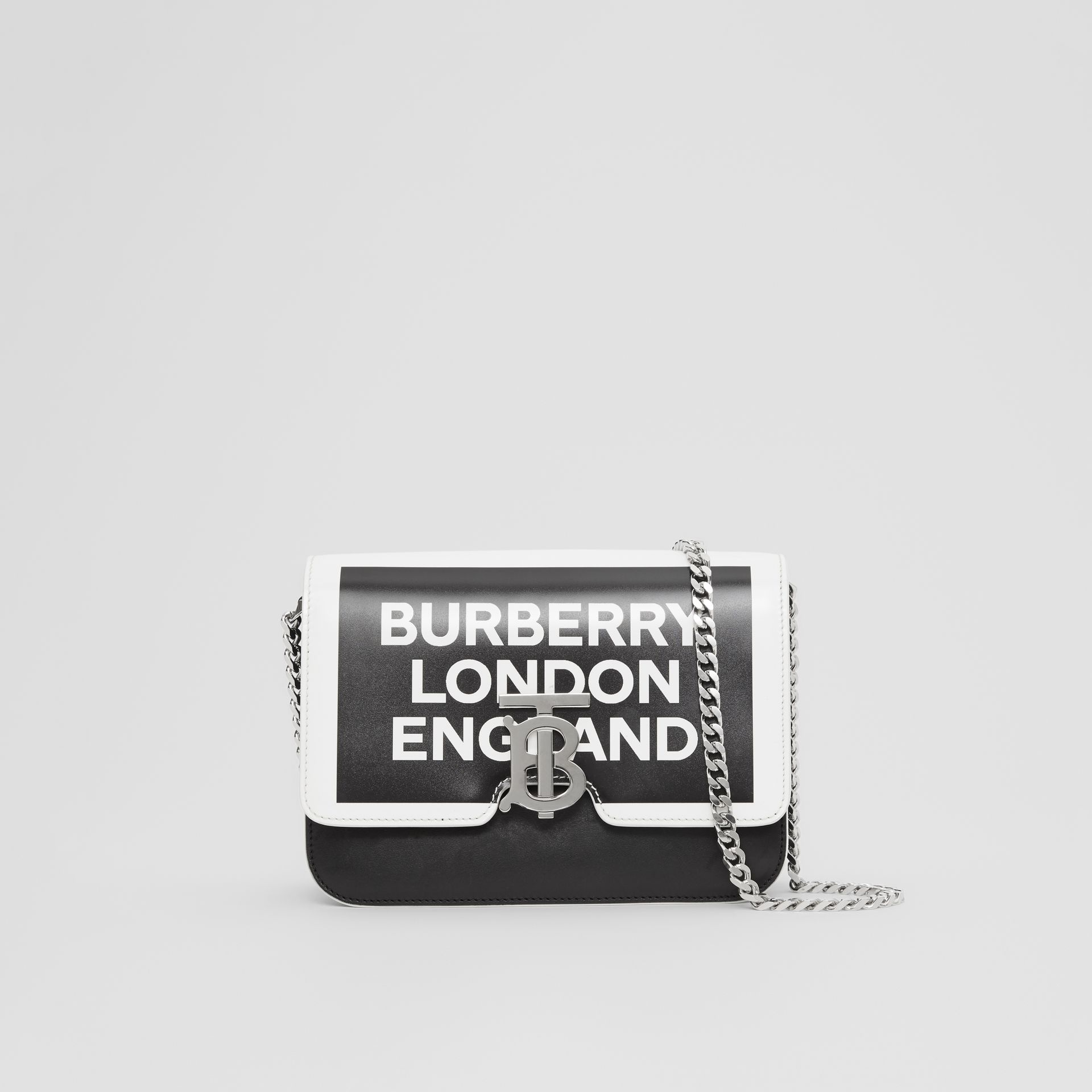 Small Logo Print Leather TB Bag in Black/white - Women | Burberry United Kingdom - gallery image 0