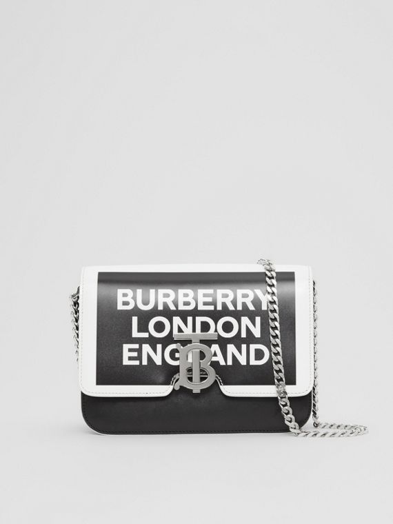 Small Logo Print Leather TB Bag in Black/white