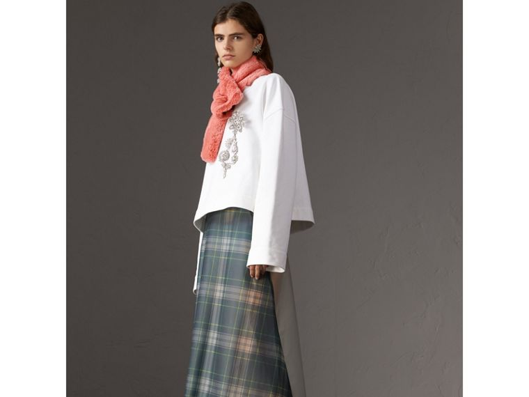 Vintage Check Cashmere And Faux Fur Scarf in Pale Pink | Burberry Australia - cell image 2