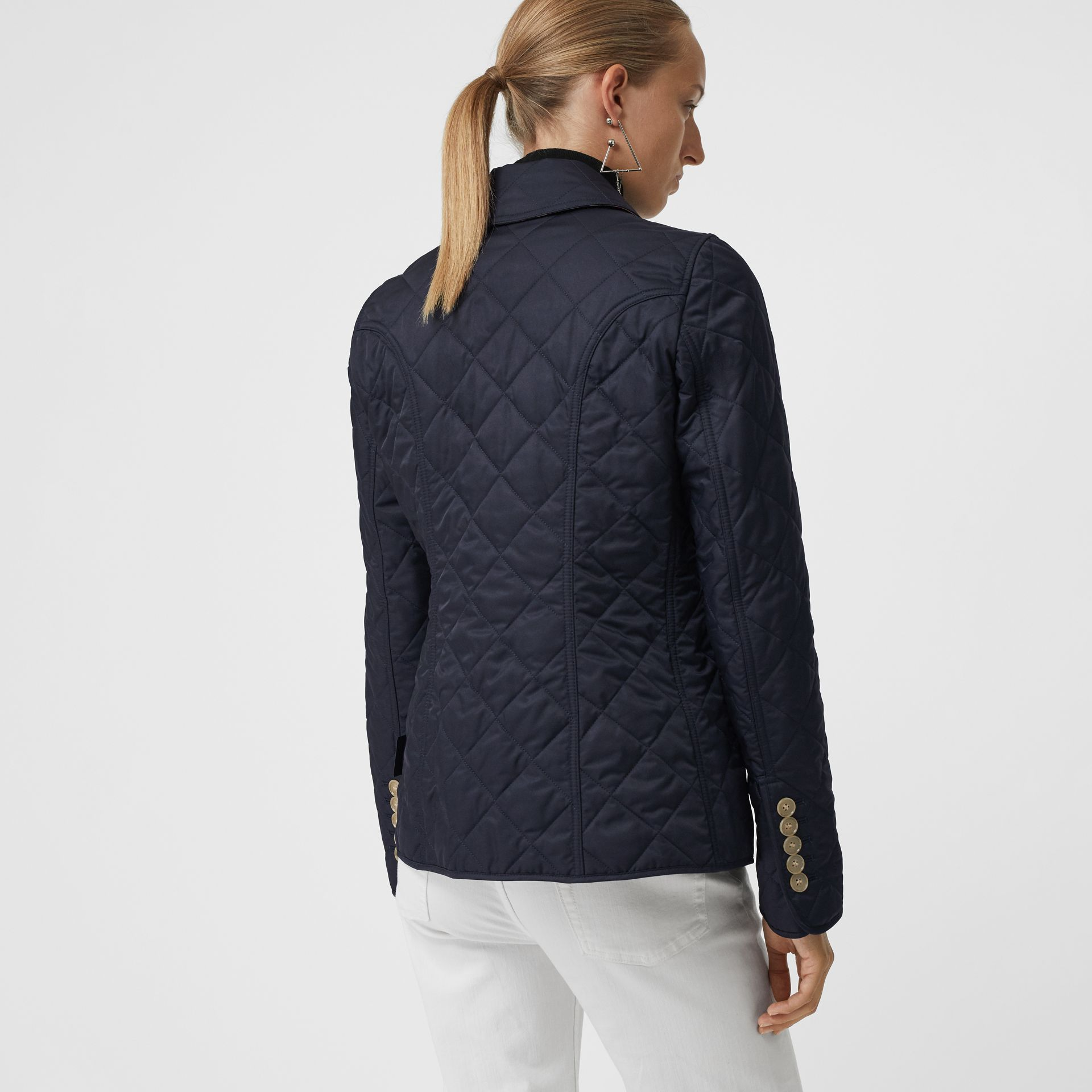 Diamond Quilted Jacket in Navy - Women | Burberry United Kingdom - gallery image 2