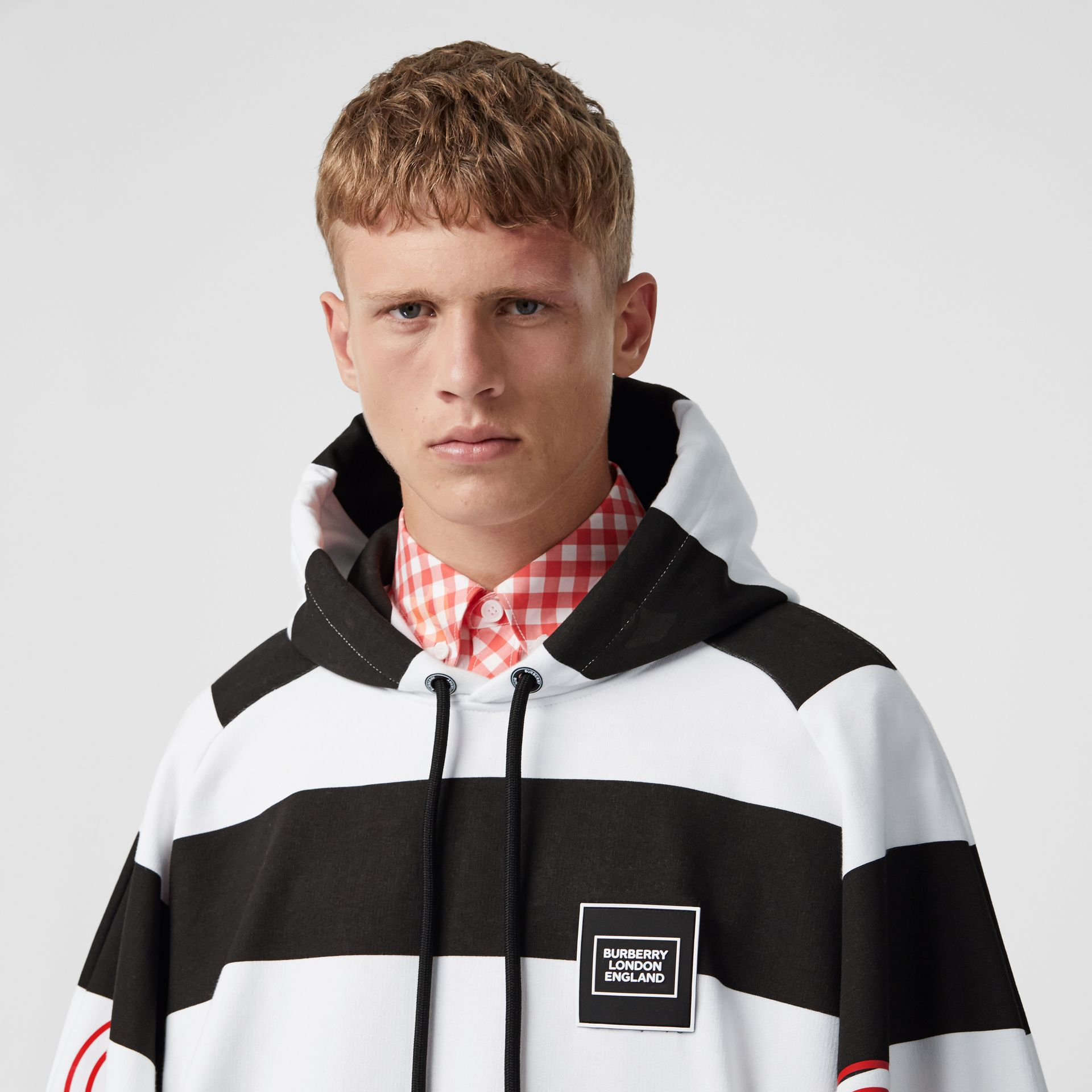 Zip Detail Logo Print Striped Cotton Hoodie in Black/white | Burberry - gallery image 1