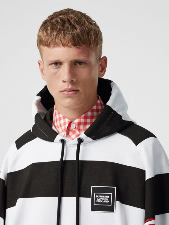 Zip Detail Logo Print Striped Cotton Hoodie in Black/white | Burberry - cell image 1