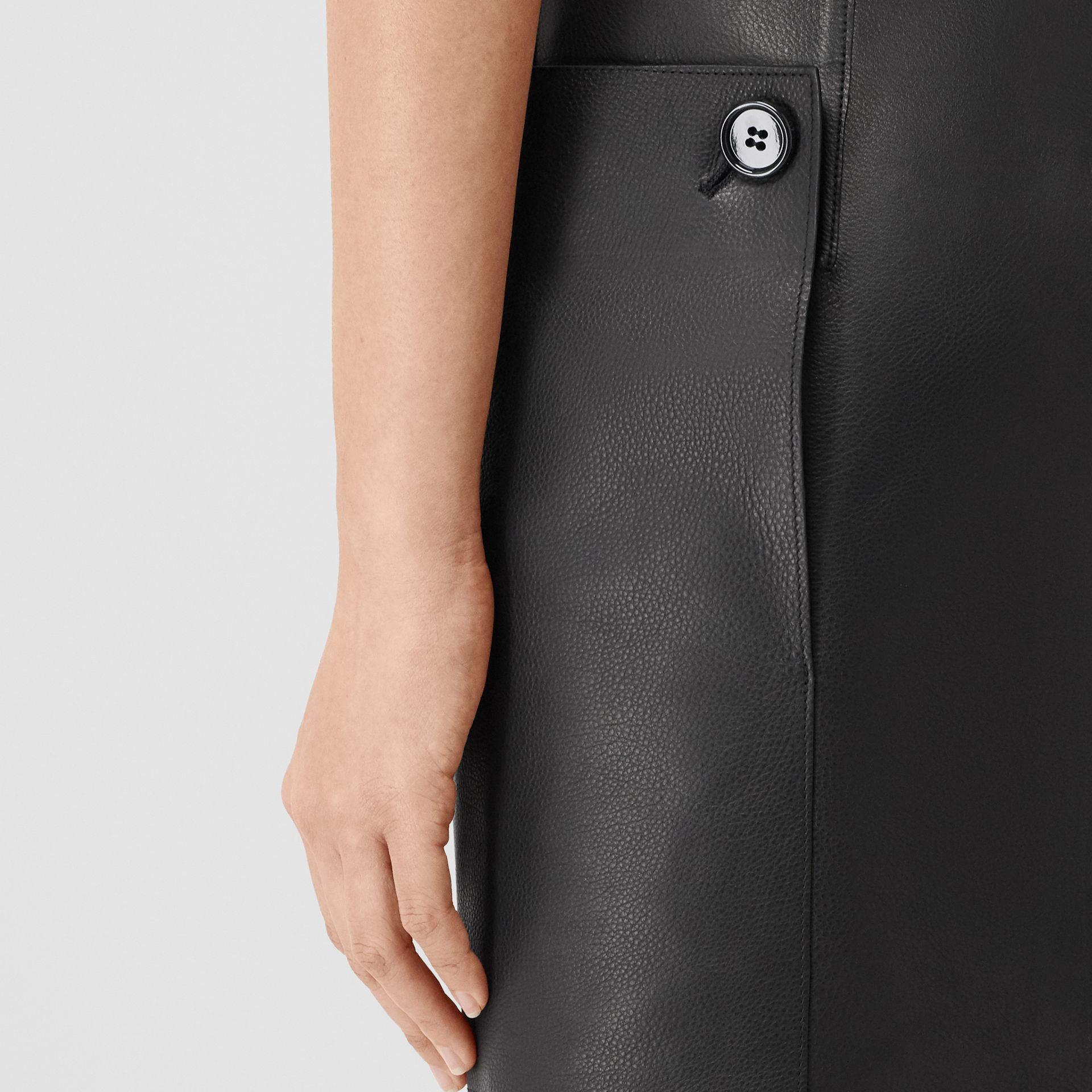 Eyelet Detail Leather Sleeveless Dress in Black - Women | Burberry - gallery image 5