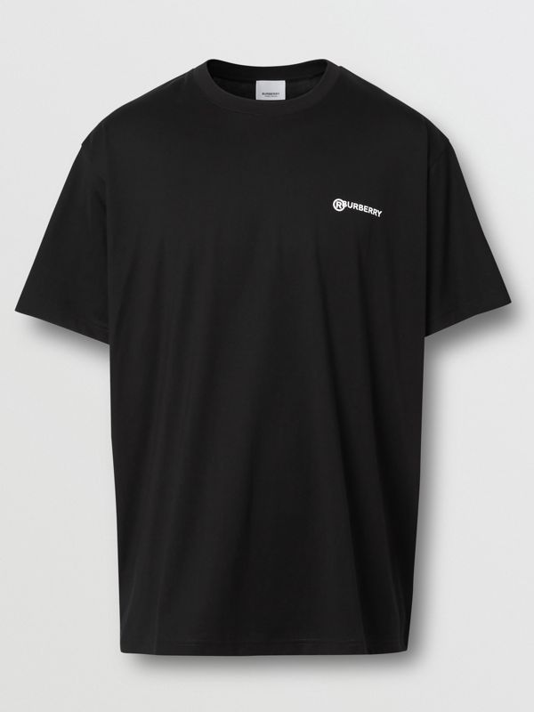 Location Print Cotton Oversized T-shirt in Black - Men | Burberry - cell image 3