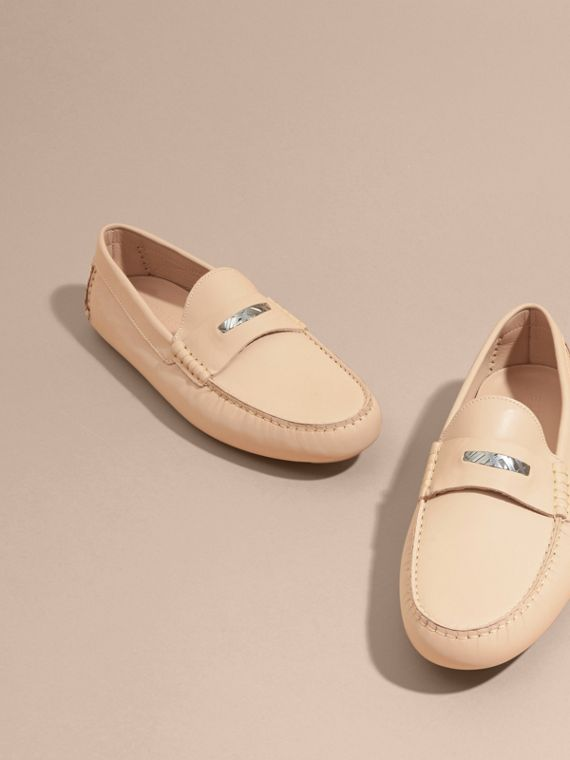 Leather Loafers with Engraved Check Detail Beige - cell image 3