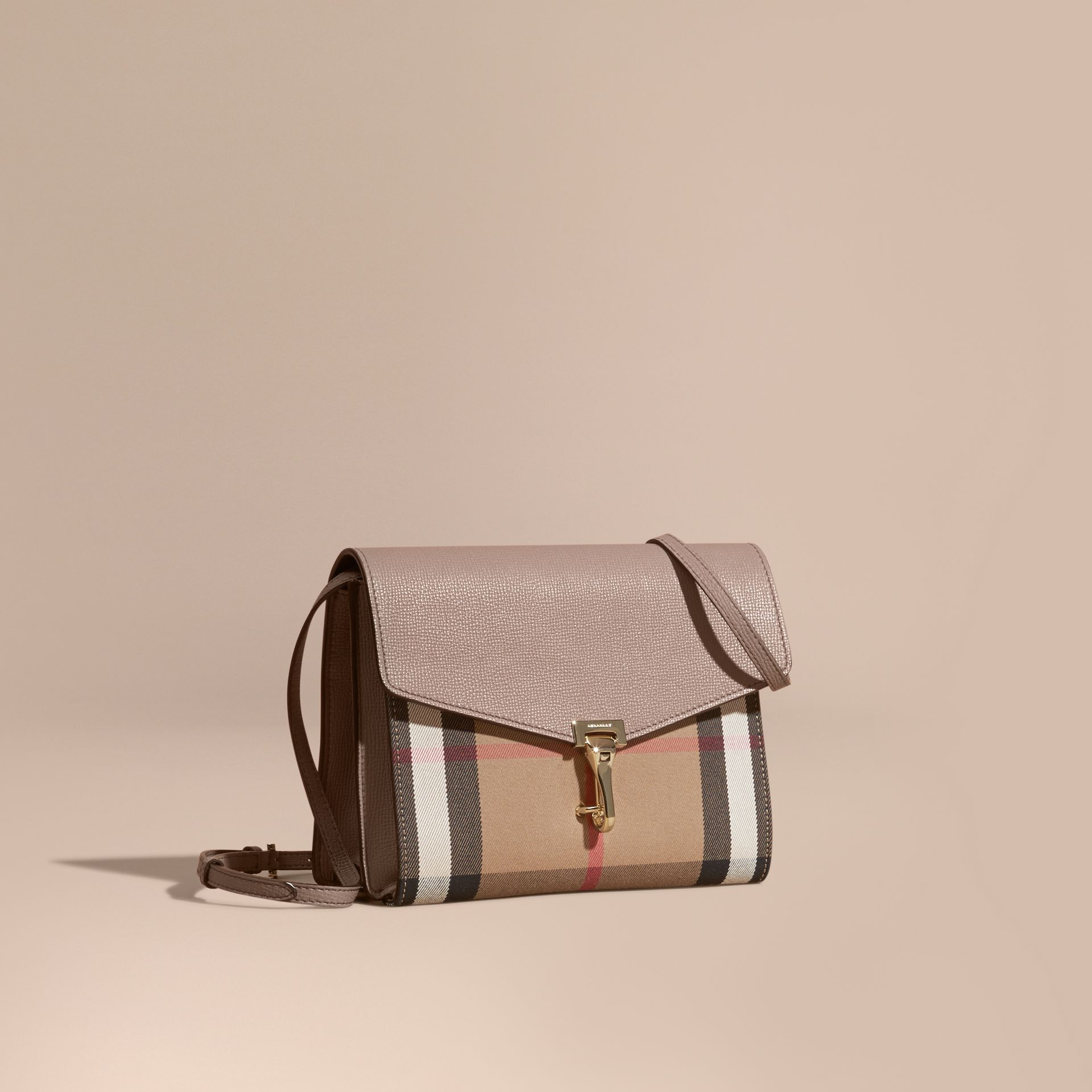 Small Leather and House Check Crossbody Bag Thistle Grey - gallery image 1