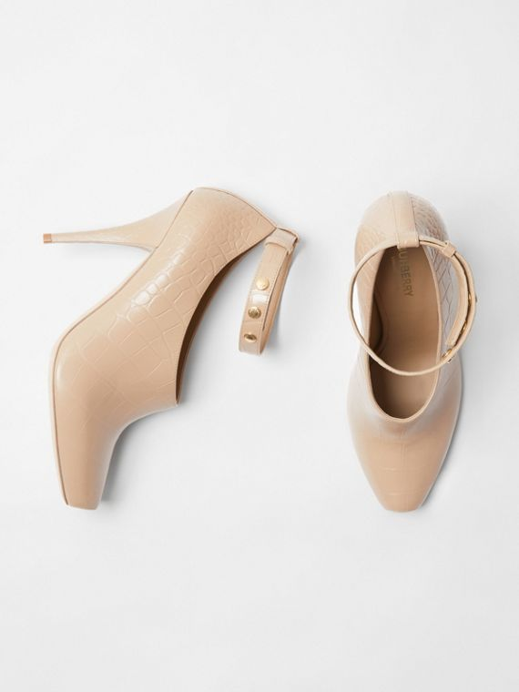Embossed Leather Peep-toe Pumps in Driftwood