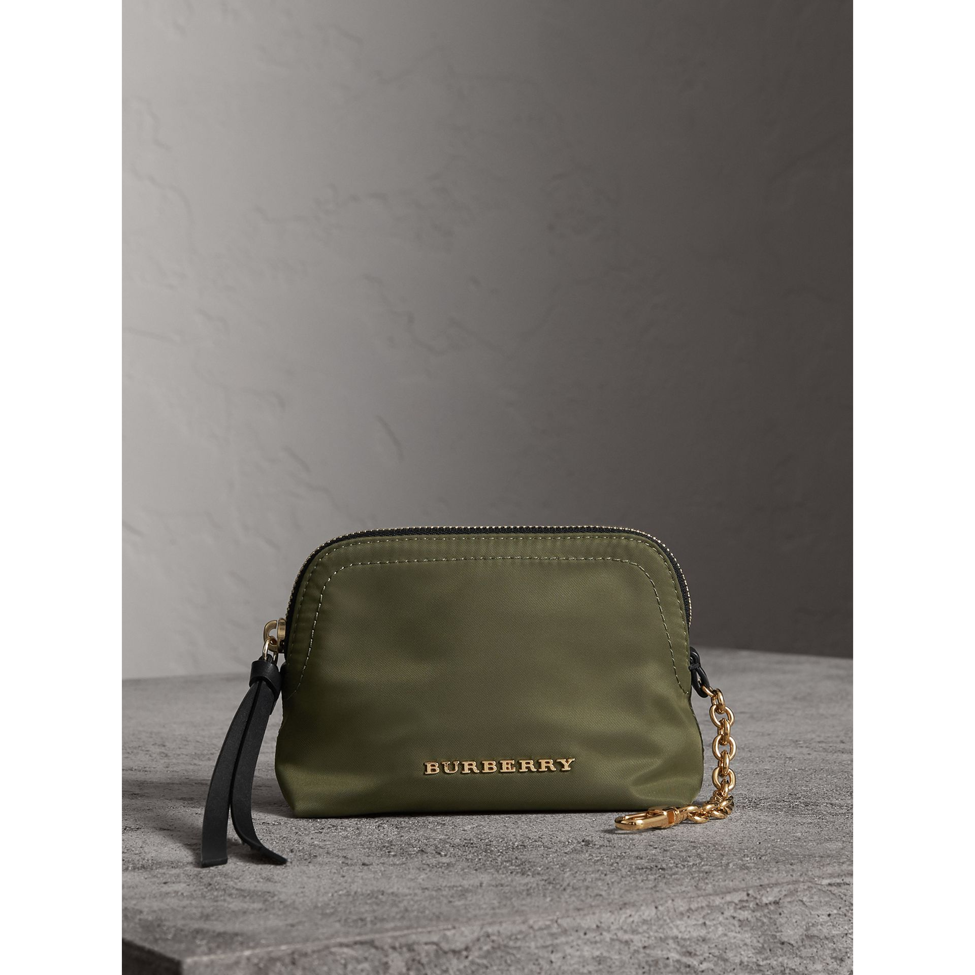 Small Zip-top Technical Nylon Pouch in Canvas Green - Women | Burberry United Kingdom - gallery image 1