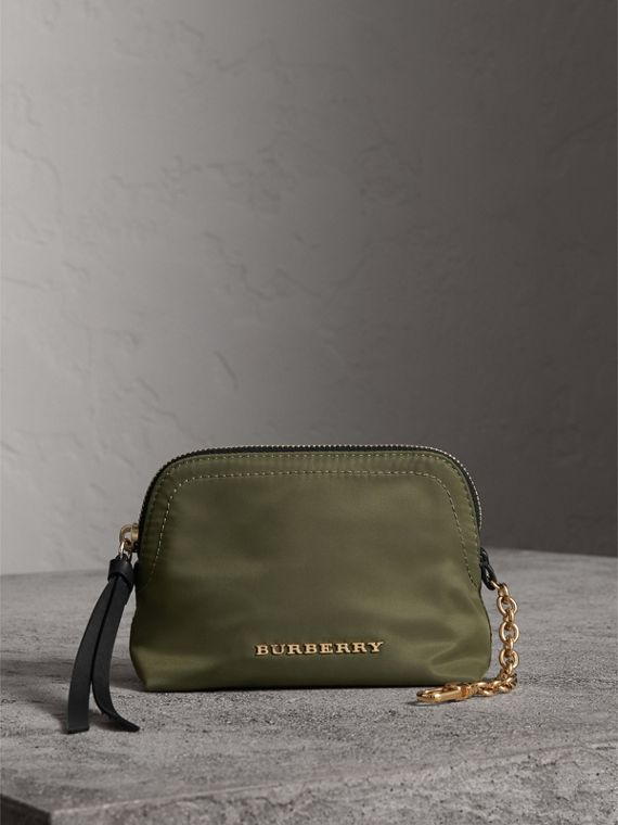 Small Zip-top Technical Nylon Pouch in Canvas Green - Women | Burberry