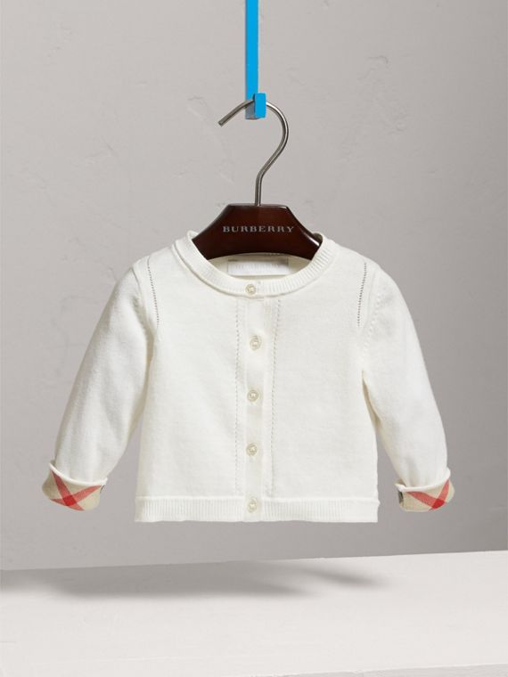 Check Cuff Cotton Cardigan in White