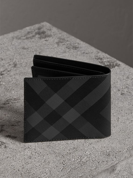 London Check Bifold Wallet with Removable Card Case in Charcoal/black - Men | Burberry Singapore - cell image 2
