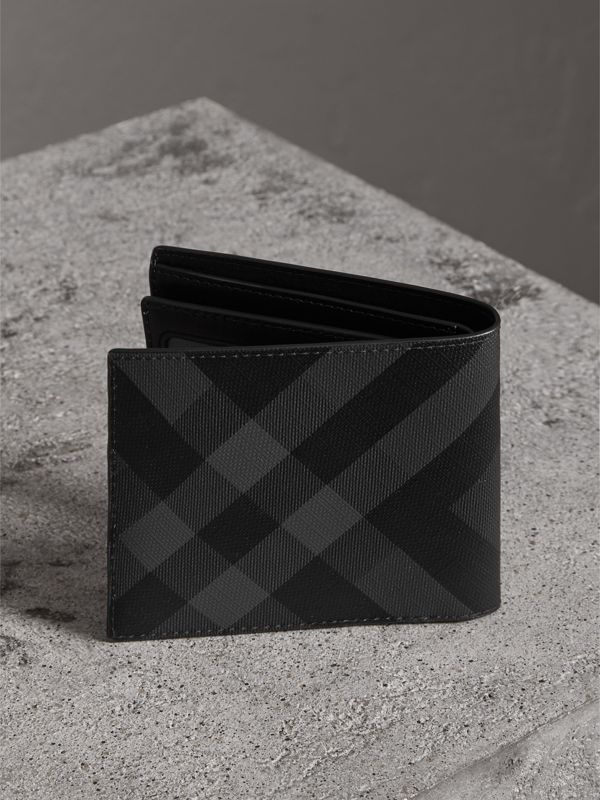 London Check Bifold Wallet with Removable Card Case in Charcoal/black - Men | Burberry Hong Kong - cell image 2