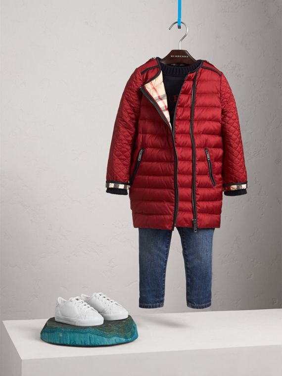 Quilted Down-filled Coat in Crimson Red
