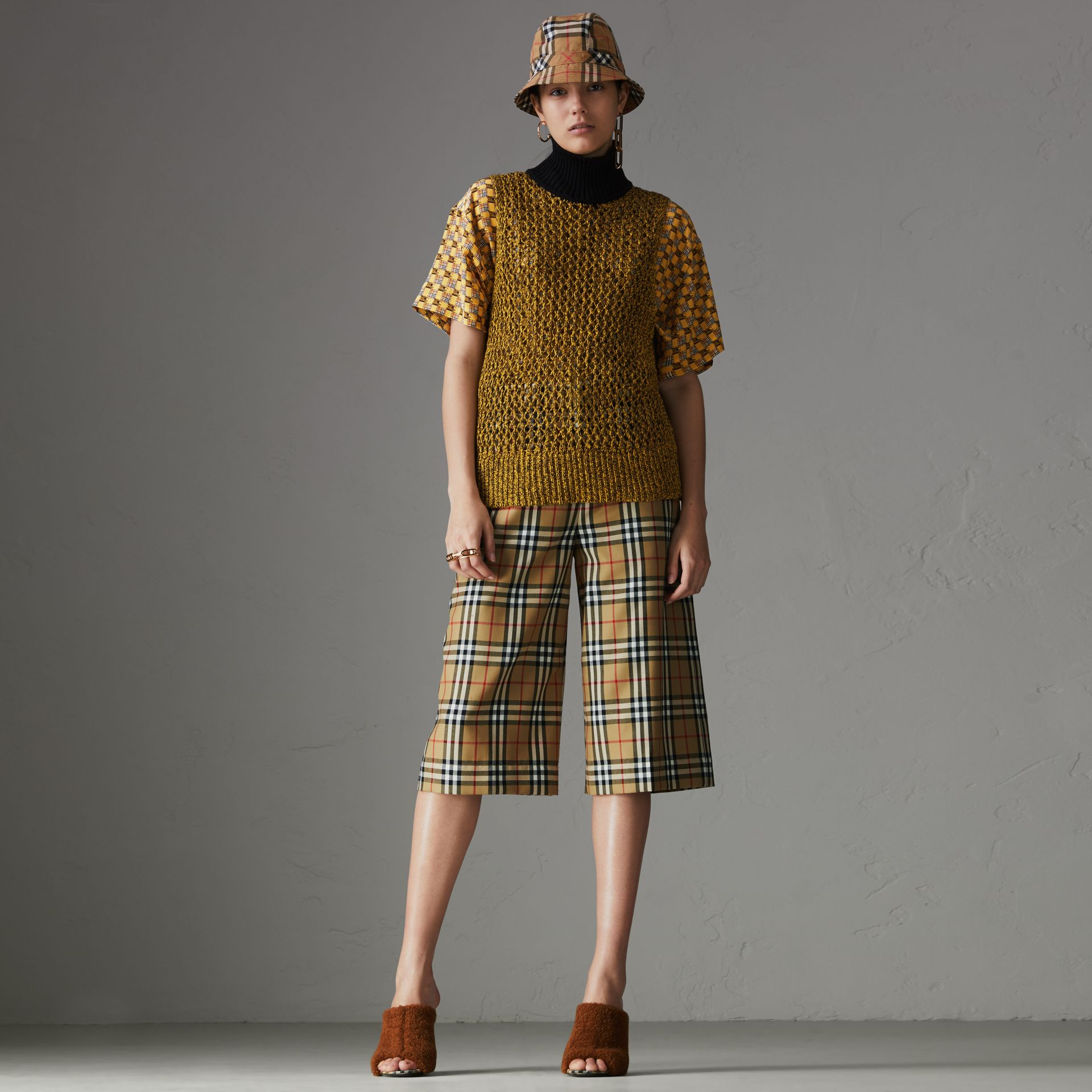 Vintage Check Wool Tailored Culottes in Antique Yellow - Women | Burberry Australia - gallery image 0