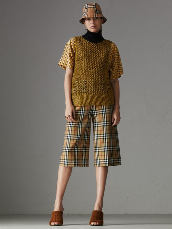 Vintage Check Wool Tailored Culottes in Antique Yellow