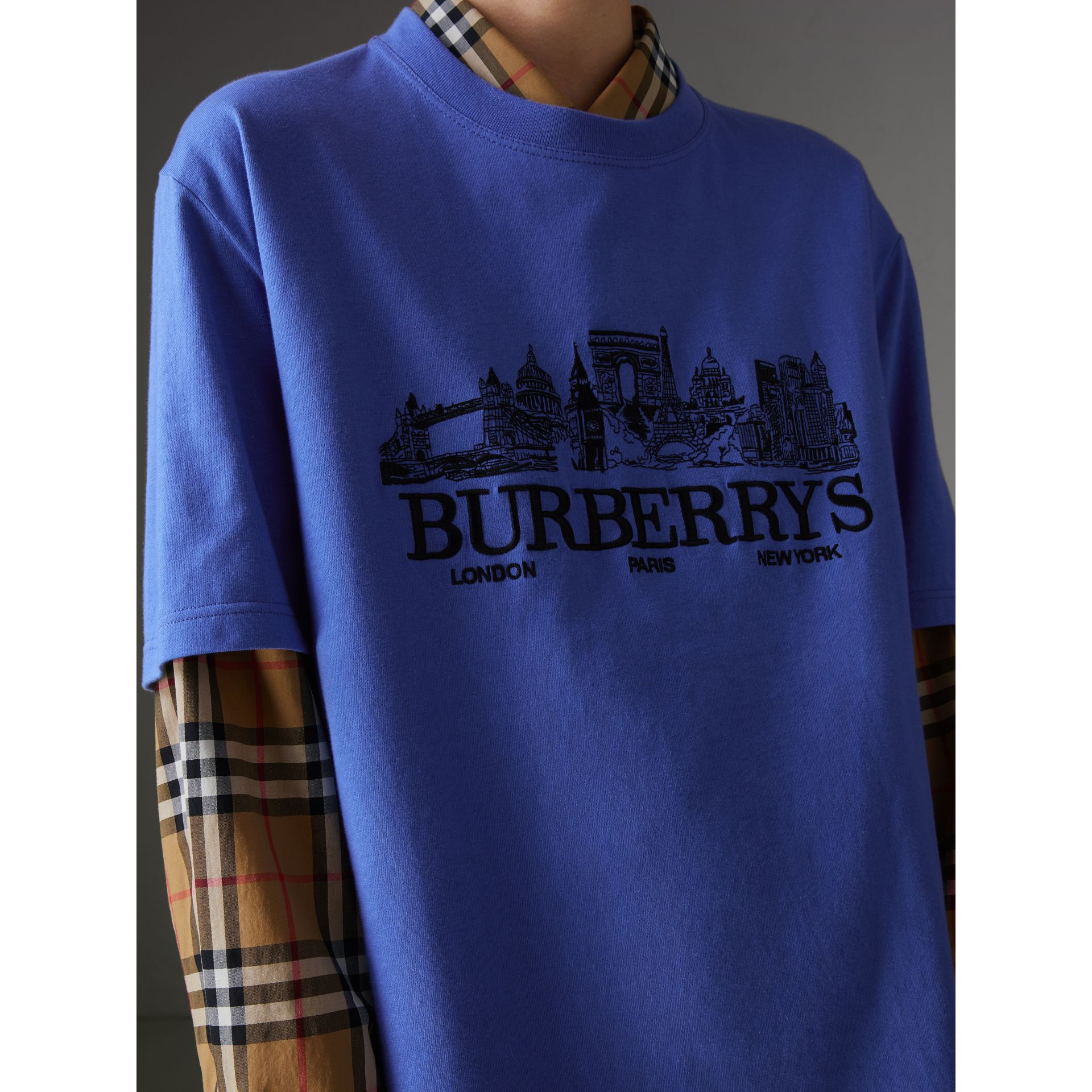 Reissued Cotton T-shirt in Cornflower Blue - Women | Burberry - gallery image 1