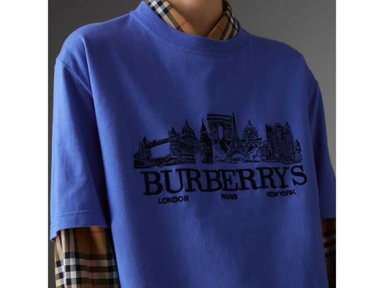 Reissued Cotton T-shirt in Cornflower Blue - Women | Burberry - cell image 1
