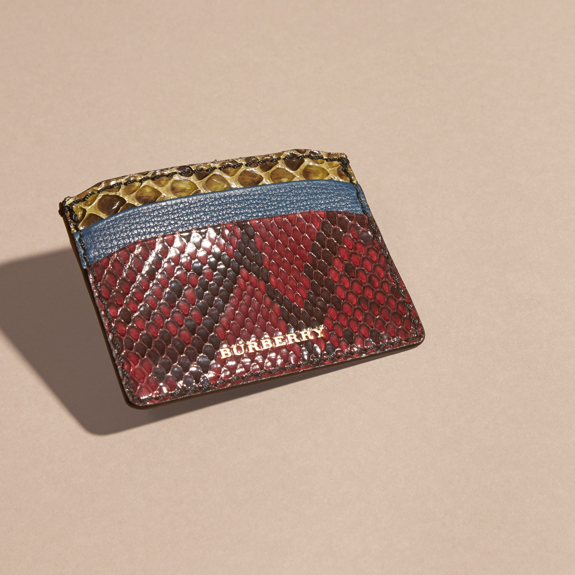 Colour Block Snakeskin and Leather Card Case in Peacock Blue - gallery image 3