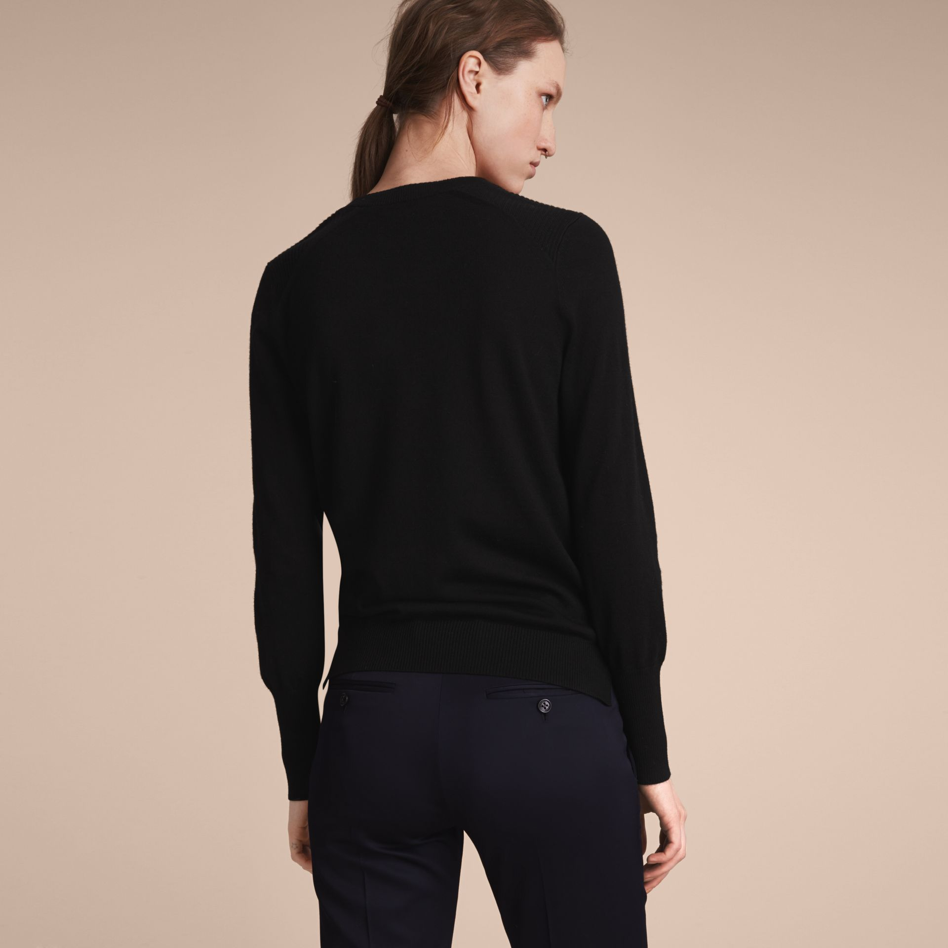 Check Detail Merino Wool Sweater in Black - Women | Burberry Singapore - gallery image 3