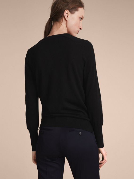 Check Detail Merino Wool Sweater in Black - Women | Burberry Australia - cell image 2