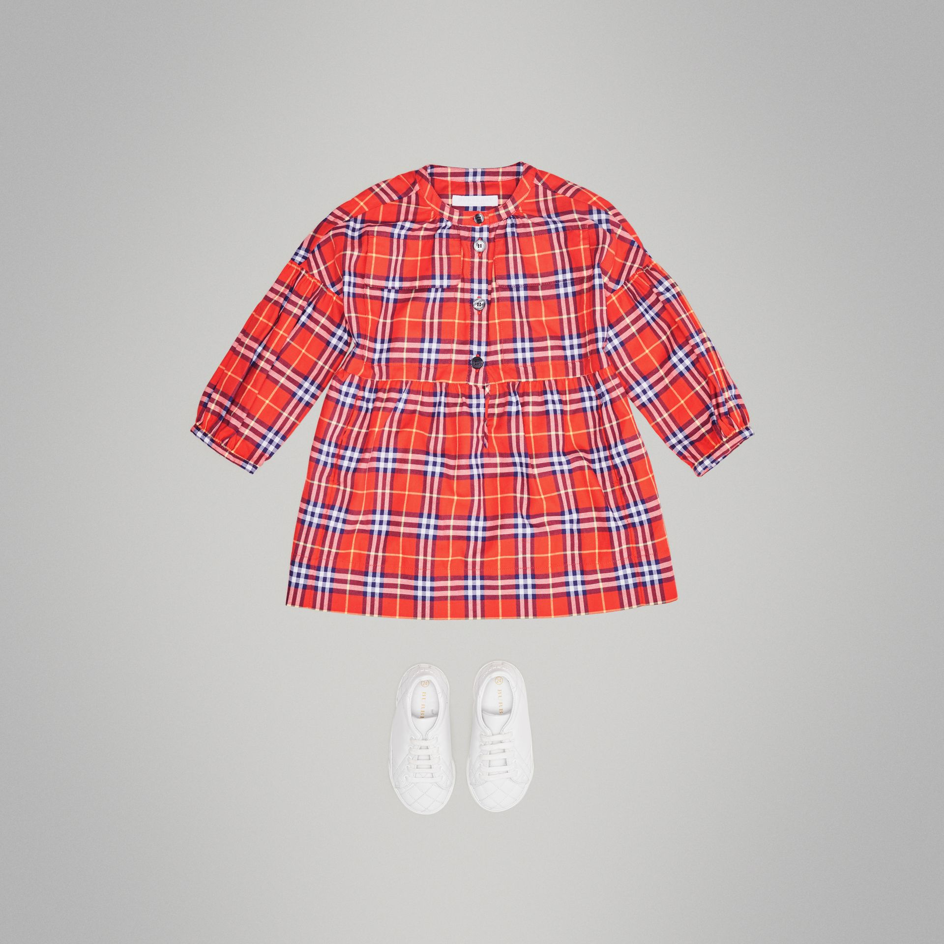 Check Cotton Flannel Dress in Orange Red | Burberry - gallery image 2