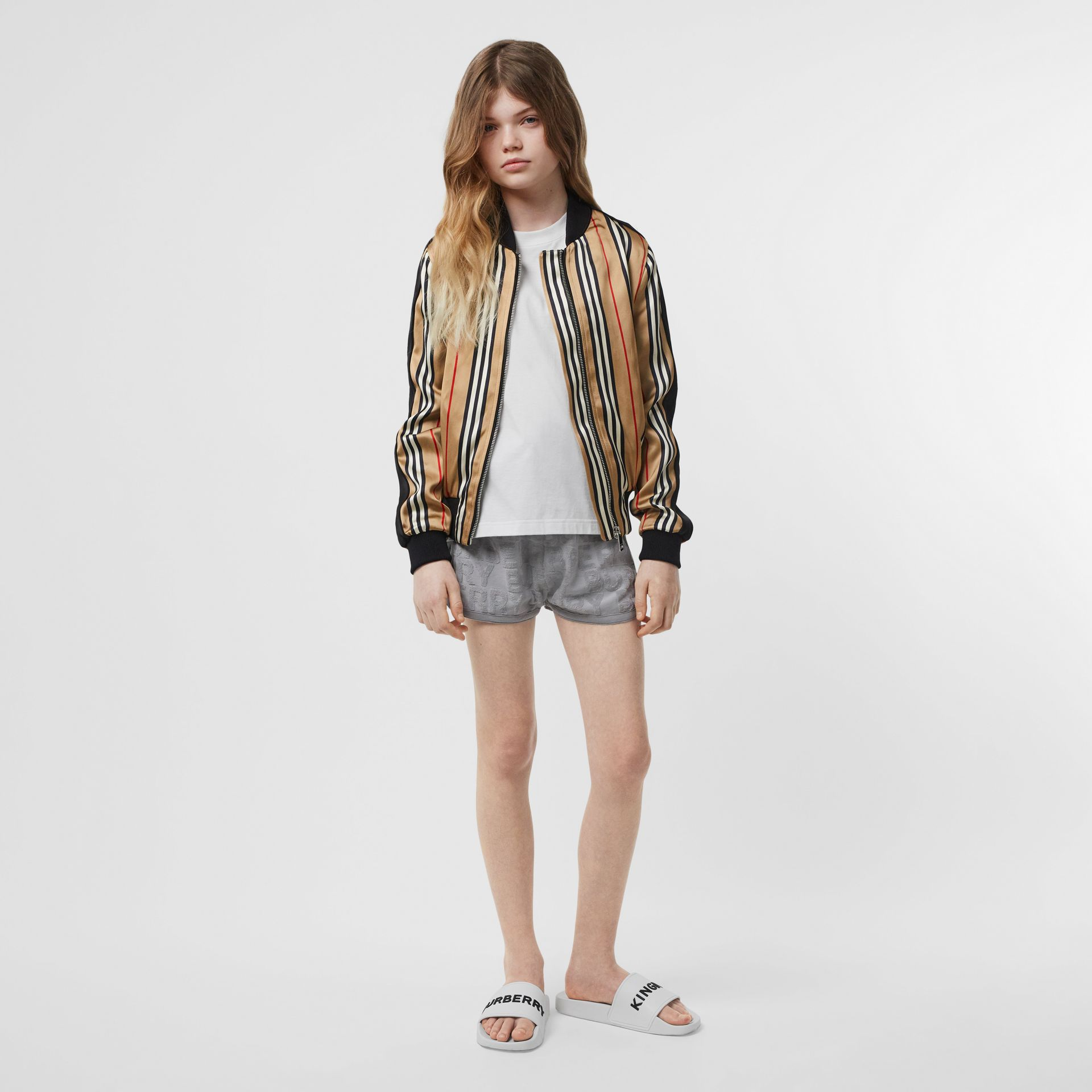 Icon Stripe Satin Bomber Jacket in Archive Beige | Burberry - gallery image 2