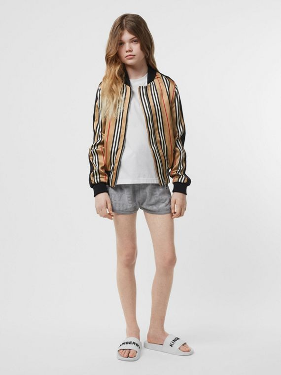 Icon Stripe Satin Bomber Jacket in Archive Beige