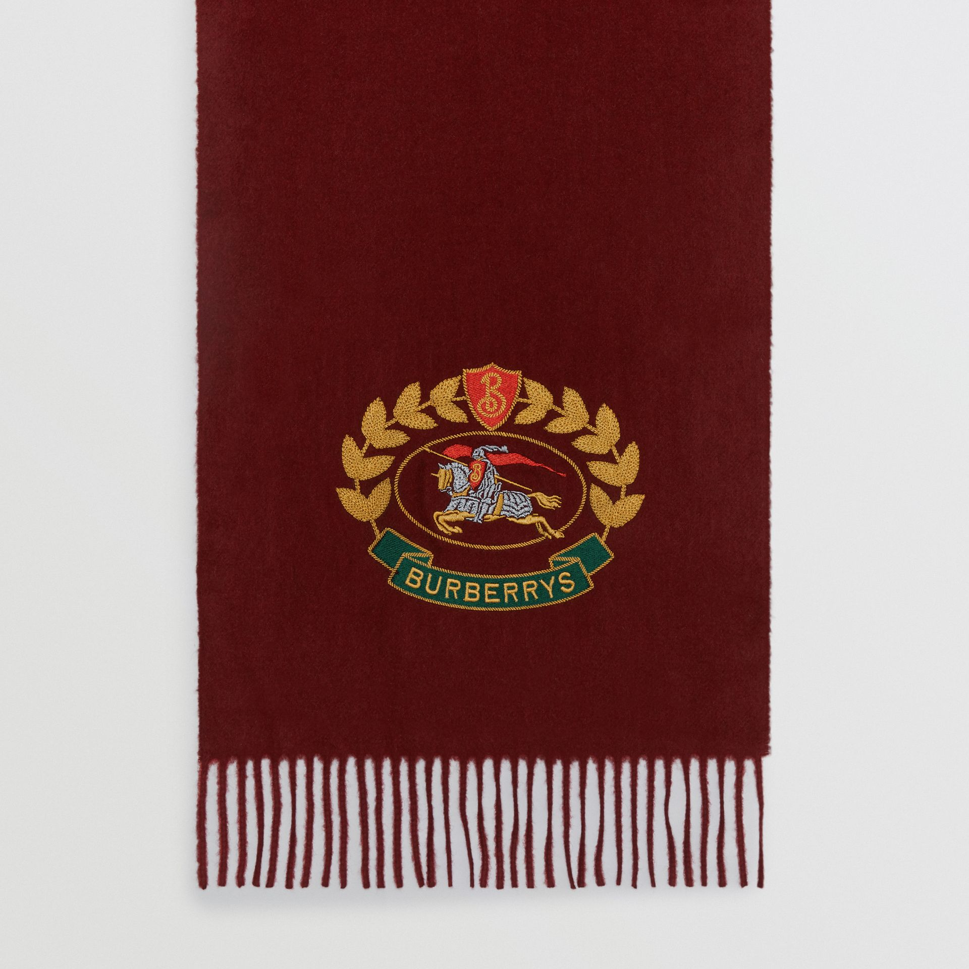The Classic Cashmere Scarf with Archive Logo in Claret | Burberry United States - gallery image 4