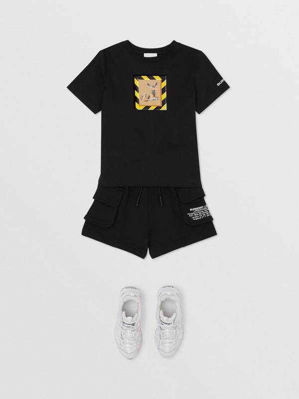 Deer Print Cotton T-shirt in Black   Burberry Australia - cell image 2