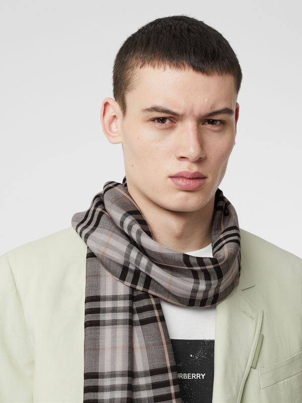 Vintage Check Lightweight Wool Silk Scarf in Apricot | Burberry Canada - cell image 3