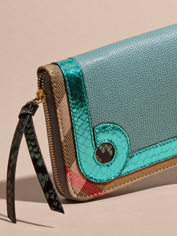 Snakeskin and House Check Ziparound Wallet in Celadon Blue - cell image 3