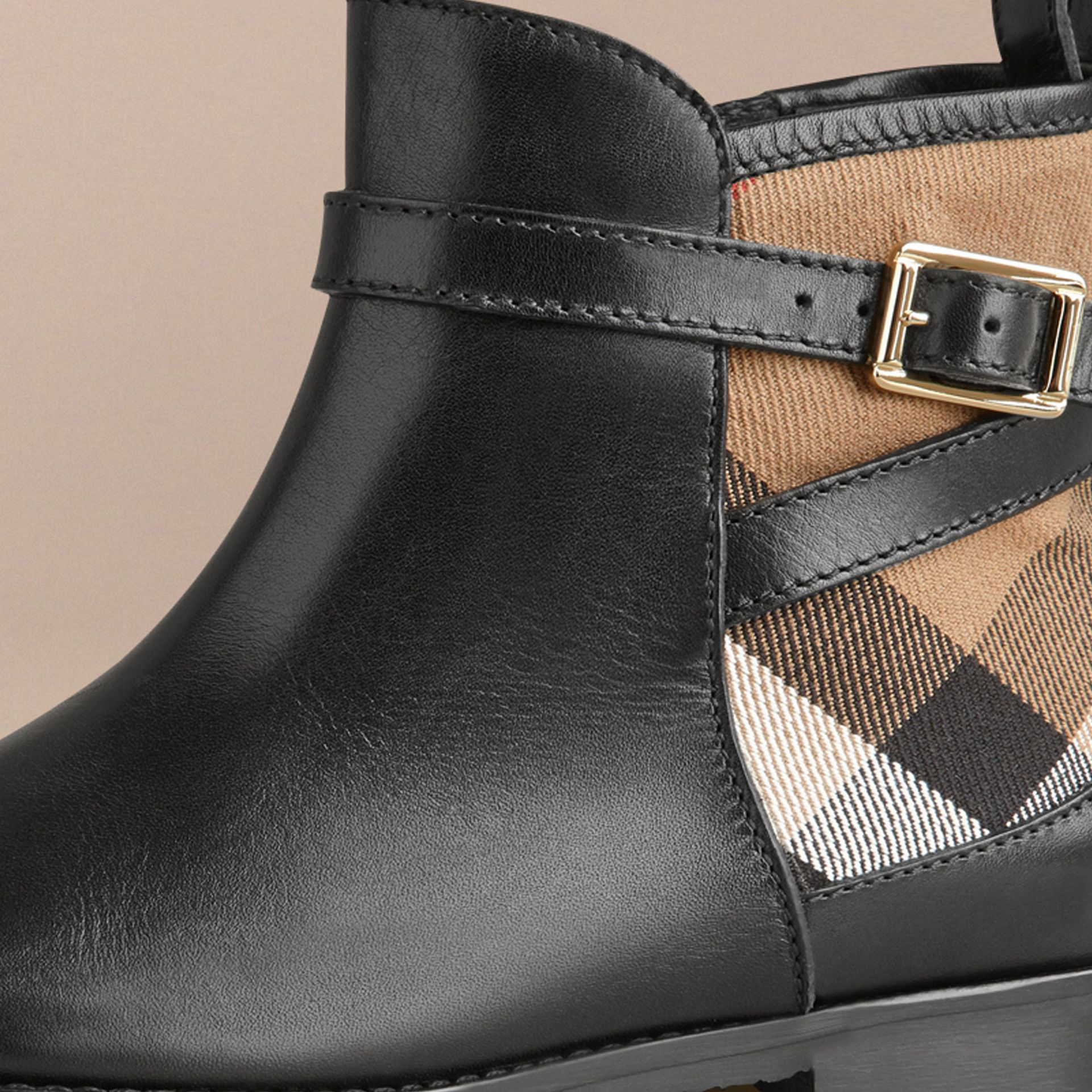 House Check Panel Leather Ankle Boots in Black | Burberry - gallery image 2