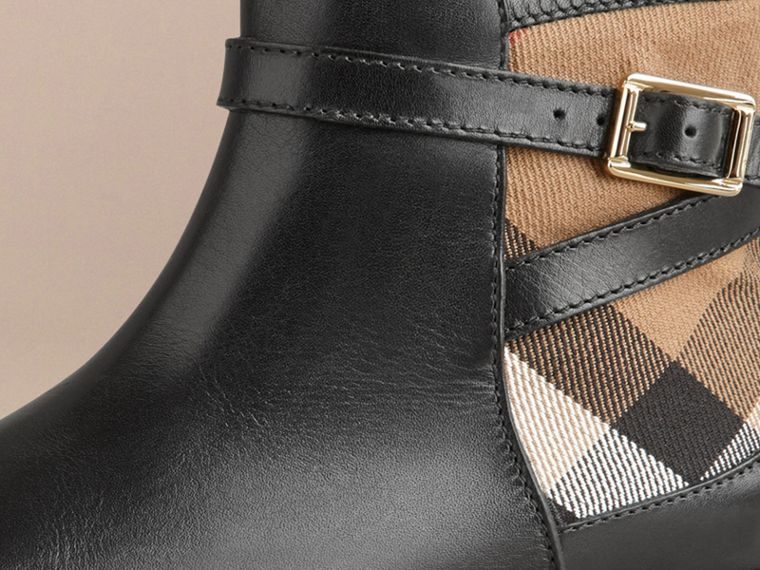 House Check Panel Leather Ankle Boots in Black | Burberry - cell image 1
