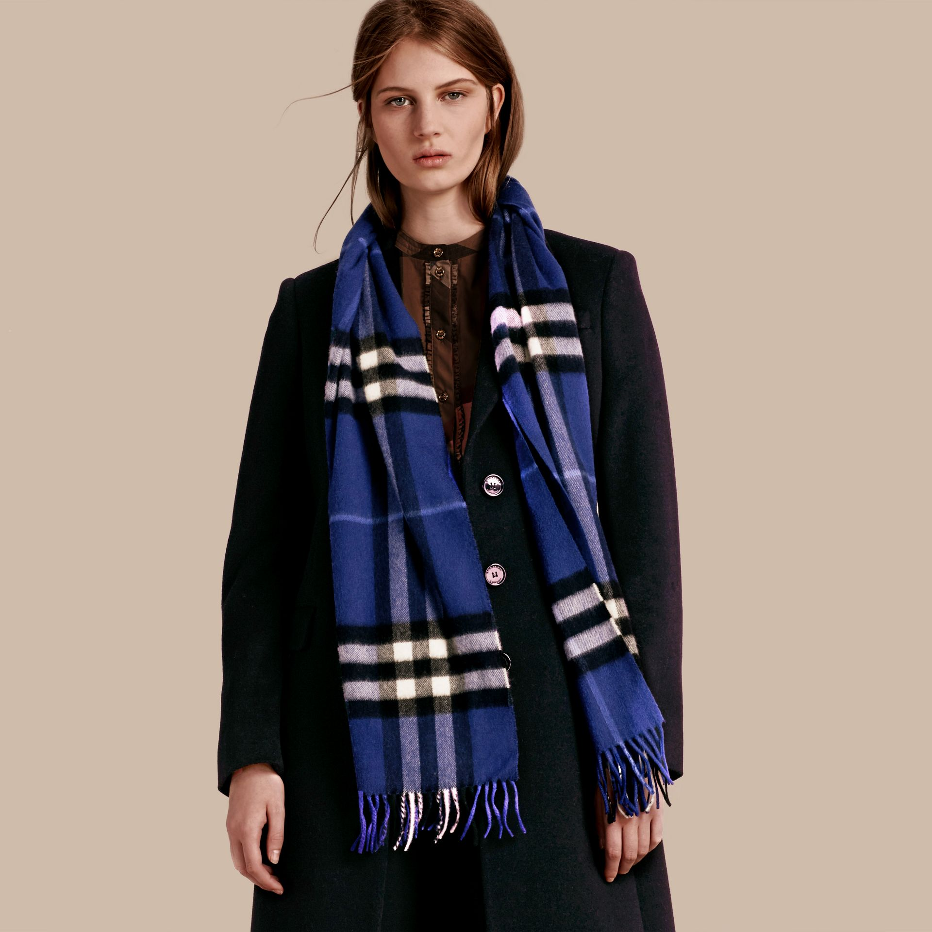 The Classic Cashmere Scarf in Check  Bright Sapphire - gallery image 3