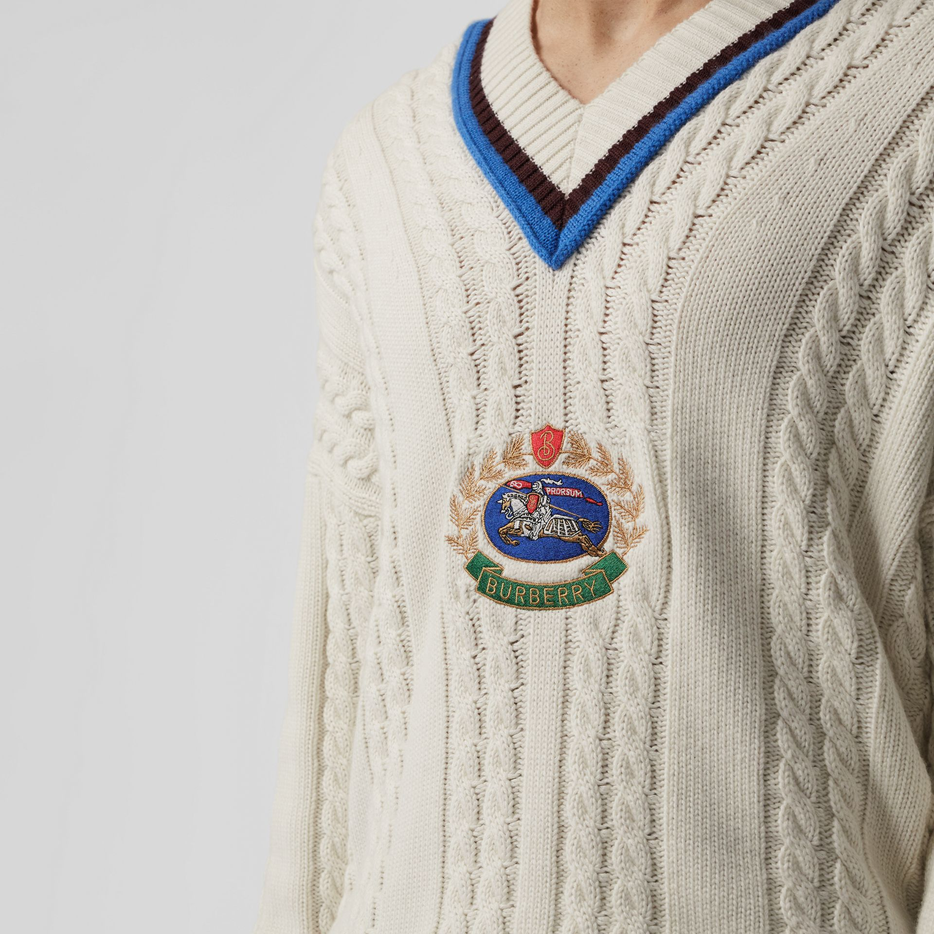 Cashmere Cotton Cricket Sweater in Natural White - Men | Burberry United Kingdom - gallery image 1