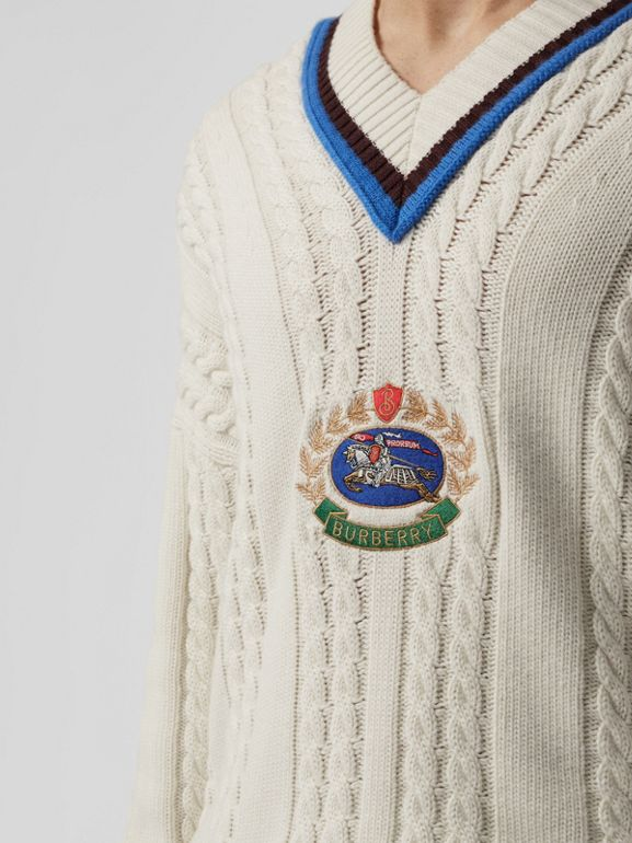Cashmere Cotton Cricket Sweater in Natural White - Men | Burberry - cell image 1