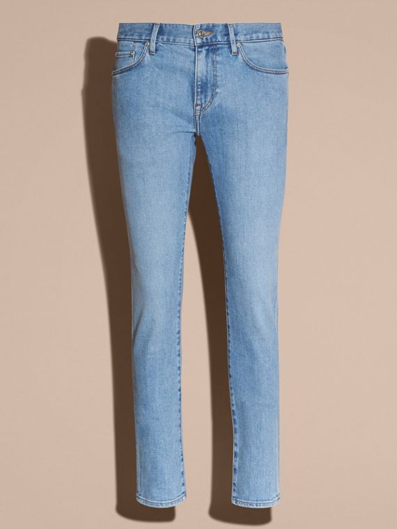 Indigo clair Jean slim stretch en denim japonais ultra-confortable - cell image 3