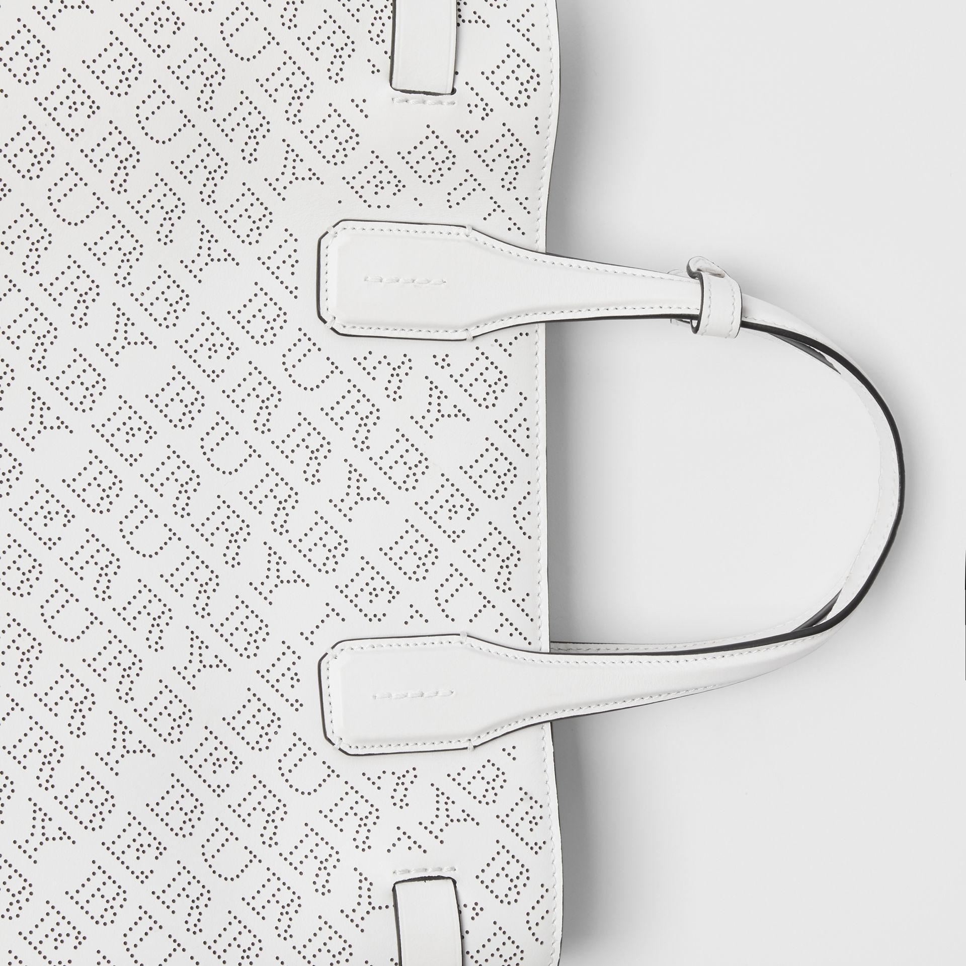 The Medium Banner in Perforated Logo Leather in Chalk White - Women | Burberry - gallery image 1