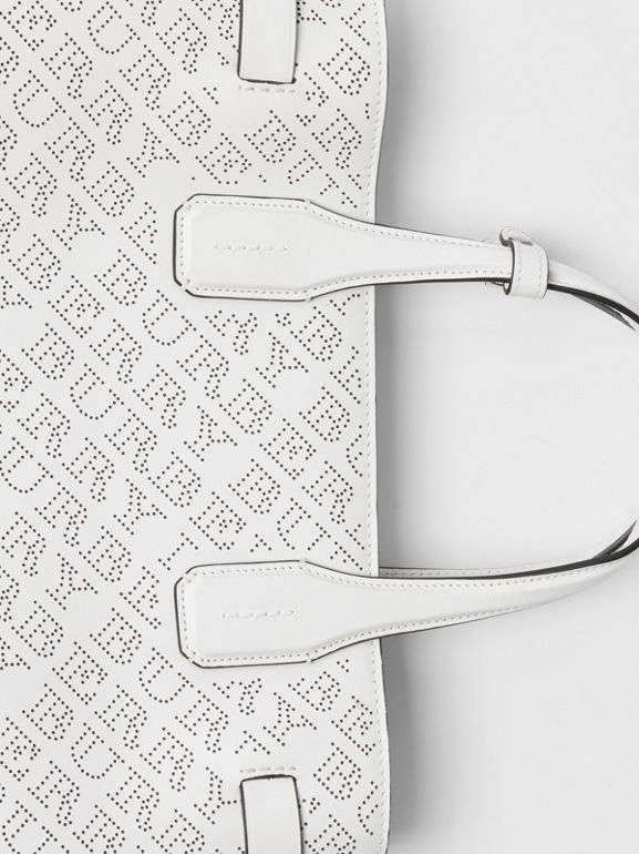 The Medium Banner in Perforated Logo Leather in Chalk White - Women | Burberry Australia - cell image 1