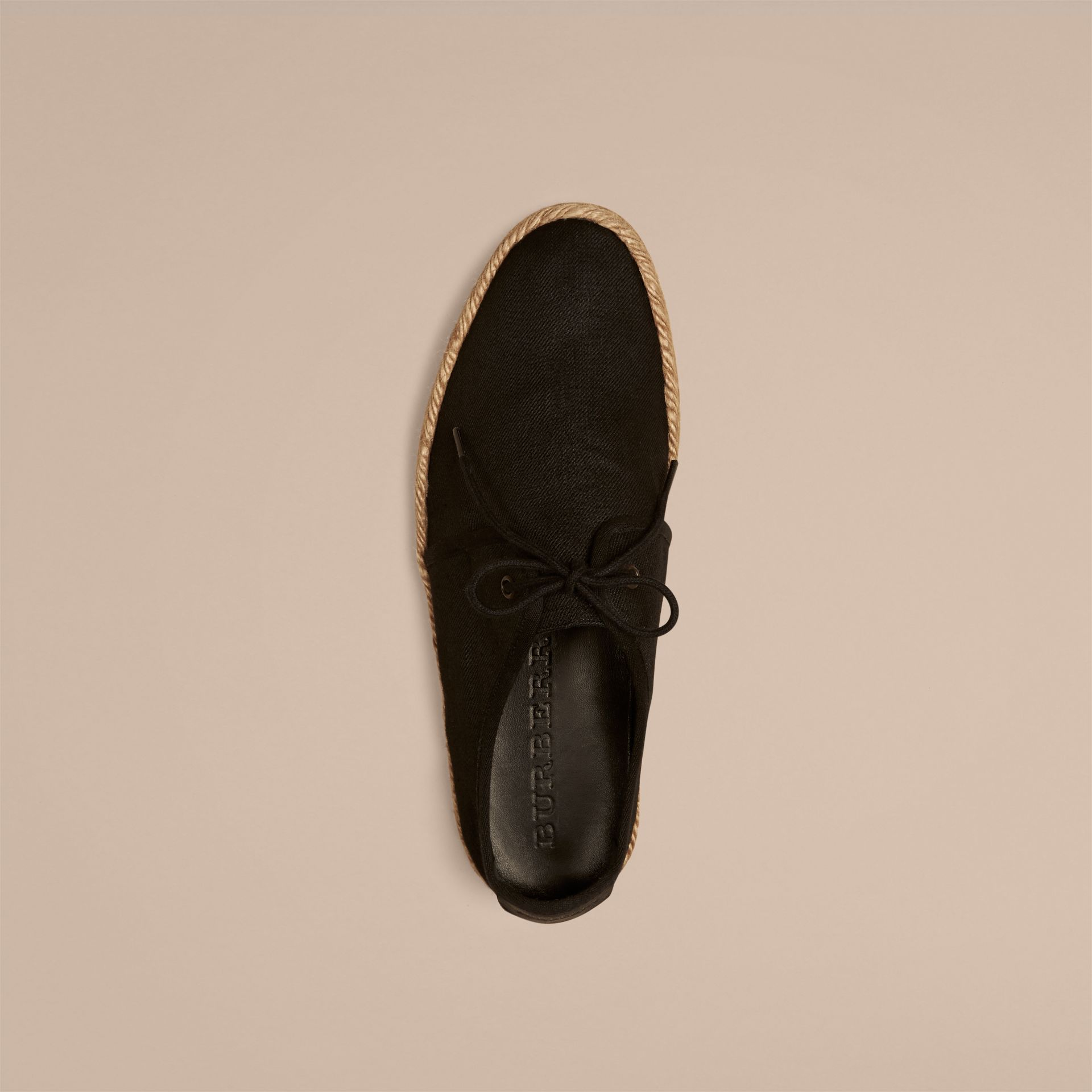 Black Japanese Linen Lace-up Espadrilles Black - gallery image 2