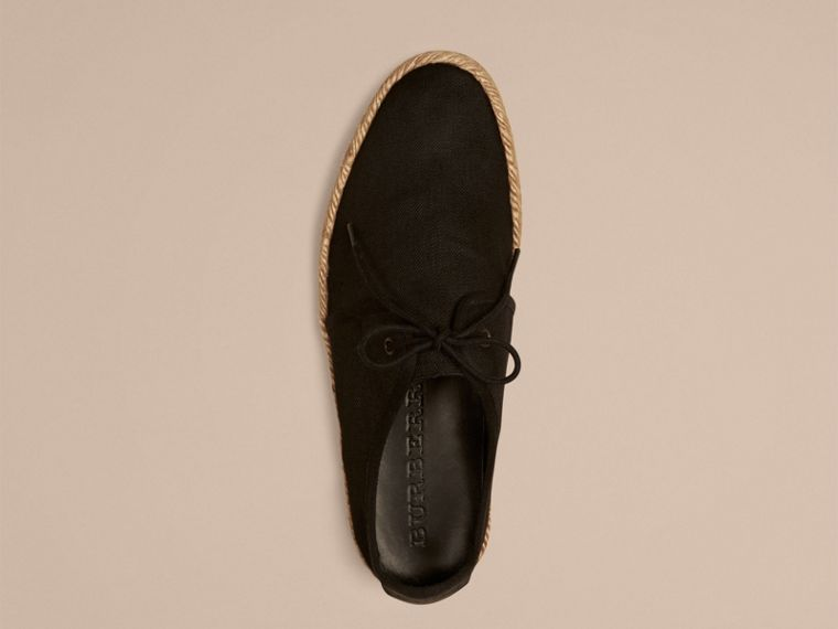 Black Japanese Linen Lace-up Espadrilles Black - cell image 1