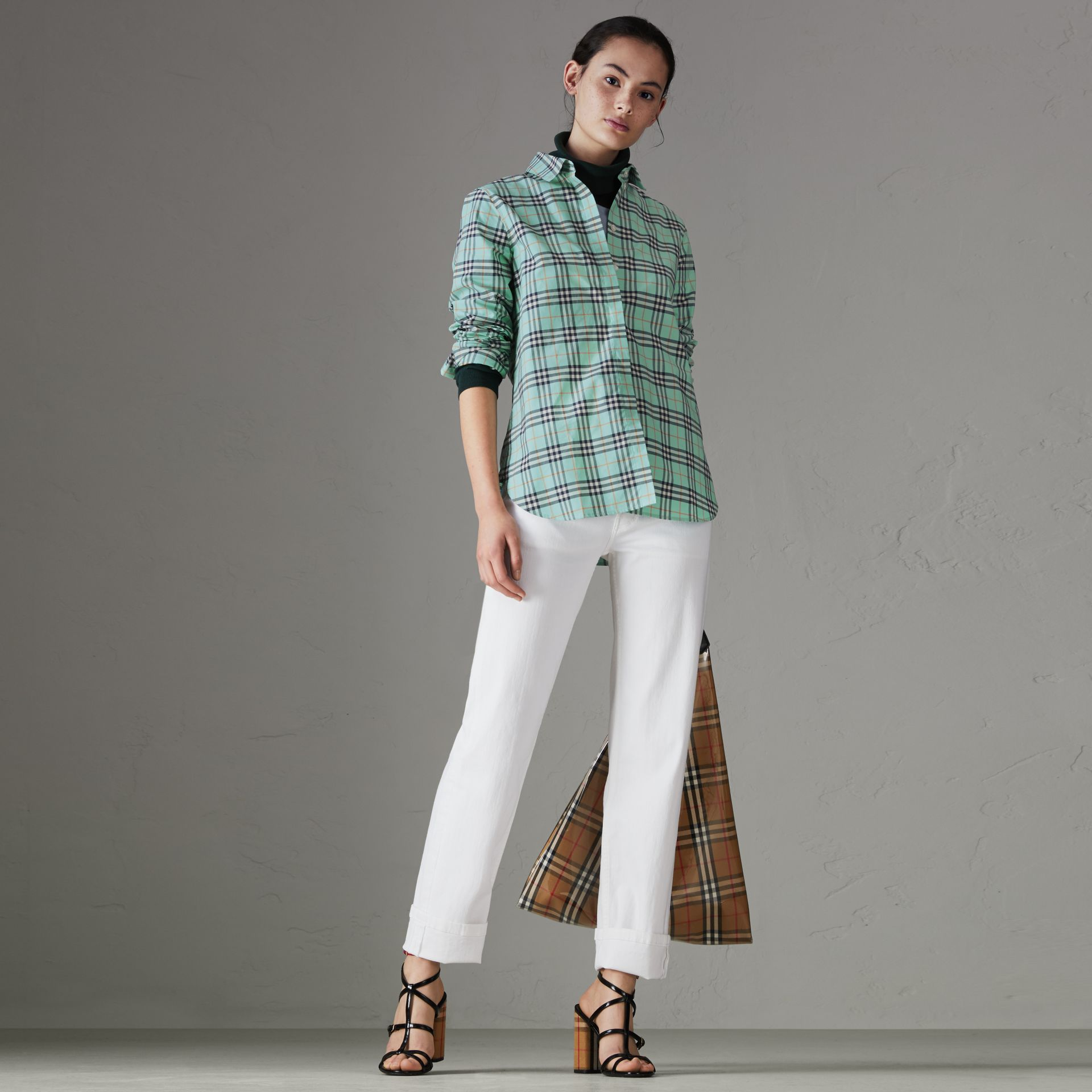 Check Cotton Shirt in Bright Aqua - Women | Burberry - gallery image 0