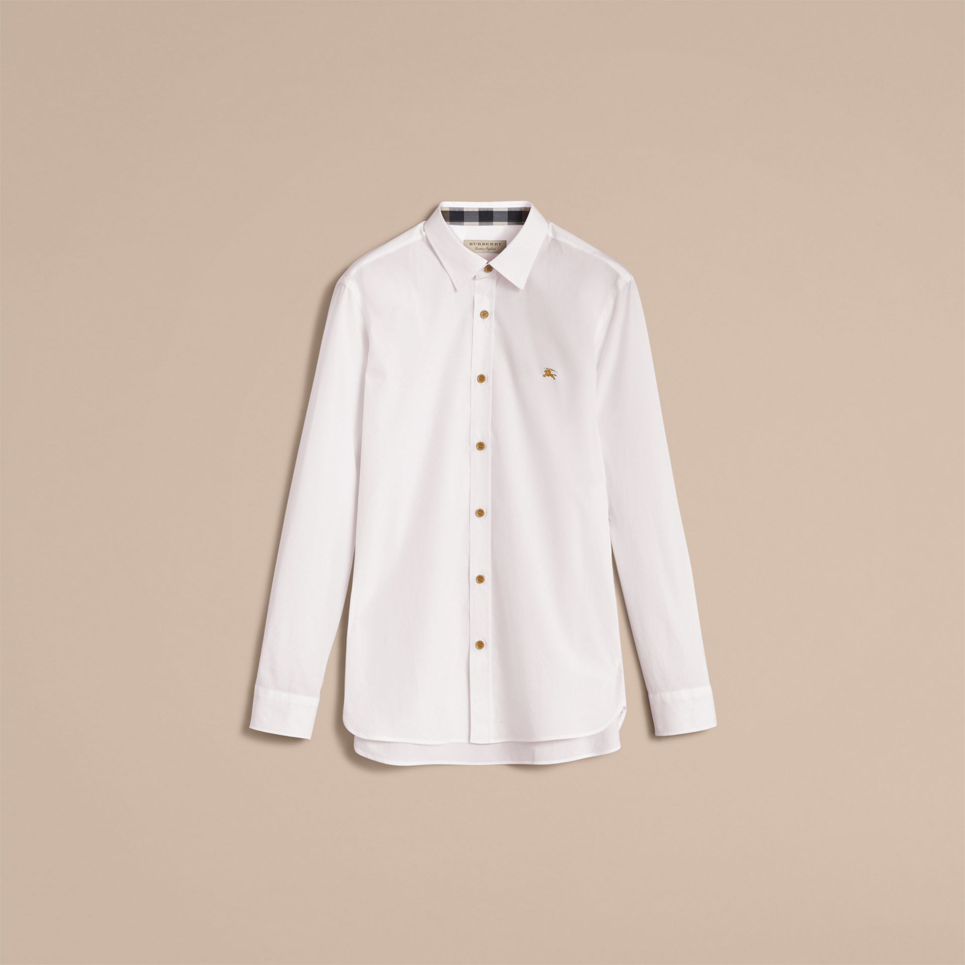 Resin Button Cotton Poplin Shirt in White - Men | Burberry - gallery image 4